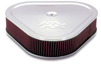 Fourteen Inch Triangle Air Filter - Chrome